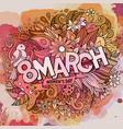 cartoon cute doodles hand drawn 8 march vector image