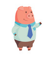cartoon pig in business attire raised hand vector image vector image