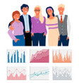 charts on cells graph icons teamwork vector image vector image