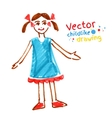 Childlike drawing of girl vector image vector image