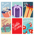 christmas card collection with gift boxes vector image vector image