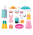 clothes and necessities for summer season travel vector image vector image