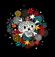 colorful print with skull and bones vector image