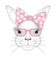cute bunny girl portrait Hand drawn rabbit fashion vector image