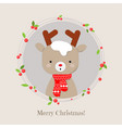 cute reindeer cartoon lovely christmas background vector image vector image