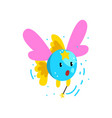 cute winged fish flying with a magic wand fantasy vector image vector image