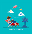 digital nomads concept young adult working vector image vector image