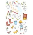 doodle set of tools of garden vector image vector image