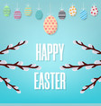 easter card happy easter inscription on blue vector image vector image