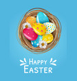 easter poster template set with 3d realistic vector image
