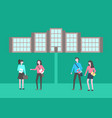 education institution students walking on campus vector image vector image