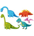five types of dinosaurs on white background