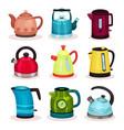 flat set of tea kettles kitchen utensils vector image