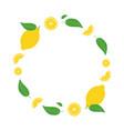fresh lemons round frame vector image vector image