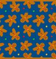 gingerbread men cookies and candies pattern vector image vector image