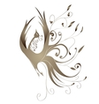Gold bird with curls vector image vector image