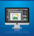 graphic photo picture editor software icon on vector image