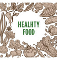 healthy food farm vegetables frame organic product vector image vector image