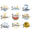 hello summer lettering set vector image