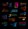 j letter abstract design corporate identity icons vector image vector image