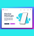 landing page with smartphone mockup mobile app vector image vector image