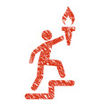 leader climb with torch icon grunge watermark vector image vector image