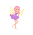lovely fairy with wings dressed in little purple vector image vector image