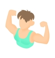 Man with biceps icon cartoon style vector image vector image