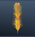 orange feather icon realistic style vector image vector image
