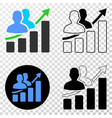 people growing chart eps icon with contour vector image vector image