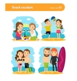 People on beach vacation vector image
