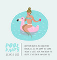 pool party poster banner woman with pink flamingo vector image