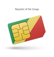 Republic of the Congo mobile phone sim card with vector image vector image