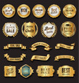 retro vintage golden badges vector image vector image