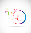 Rhino and Butterfly vector image vector image