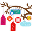 sale labels hanging on a branch vector image vector image