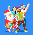 santa claus dancing with group of people and vector image vector image