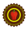 seal stamp with pepper icon vector image vector image