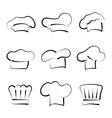 set chef hats isolated on white background vector image vector image