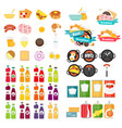 set of food icons template in modern flat style vector image vector image