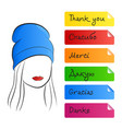 silhouette of a beautiful girl a word of thanks vector image vector image