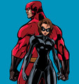 superhero couple back to back no capes vector image vector image