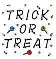 trick or treat bone letters with candies on white vector image vector image