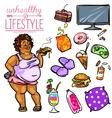 unhealthy lifestyle - woman vector image vector image