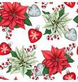 watercolor hand drawn poinsettia christmas vector image vector image