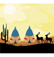 wild landscape with two wigwams and wild animals vector image