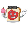 with ice cream bread with jam character cartoon vector image