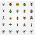 Colorful insects icons vector image