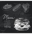 Fast food hand drawn chalkboard design set vector image