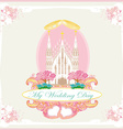 vintage wedding card with rings and elegant vector image